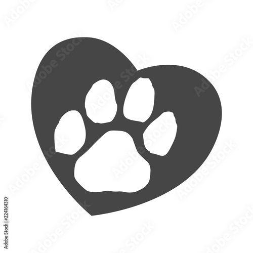 Silhouette of a paw print with a heart symbol Fototapete