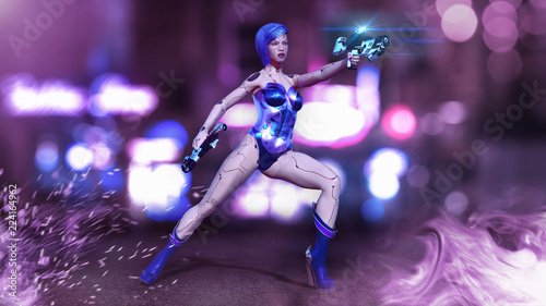 Foto op Plexiglas womenART Cyborg girl armed with guns, female battle robot shooting, sci-fi android woman in the night city, 3D rendering