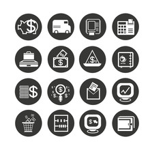 Finance Icon Set In Circle But...