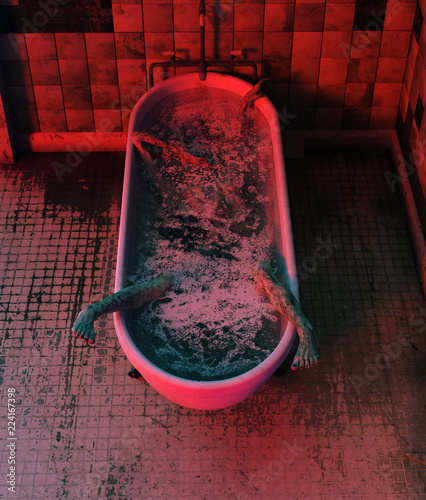 Photo Corpse in bathtub,Horror concept 3d illustration
