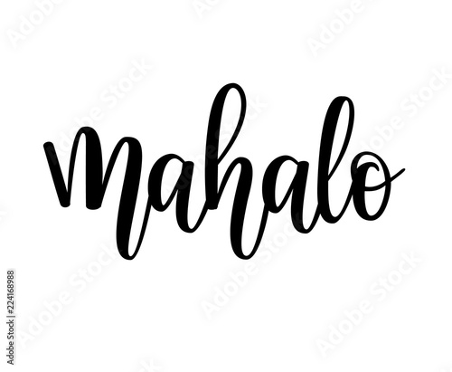 Mahalo vector hawaiian thank you lettering design