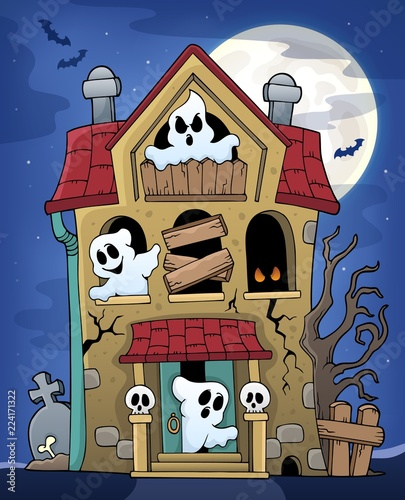 Poster Voor kinderen Haunted house with ghosts theme 2