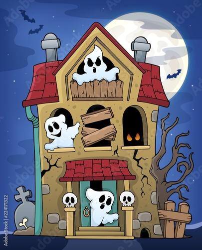 Fotobehang Voor kinderen Haunted house with ghosts theme 2