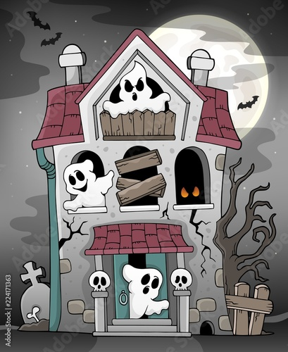Poster Voor kinderen Haunted house with ghosts theme 3