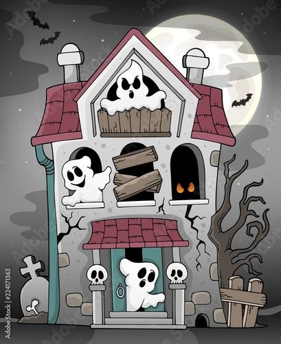 Fotobehang Voor kinderen Haunted house with ghosts theme 3