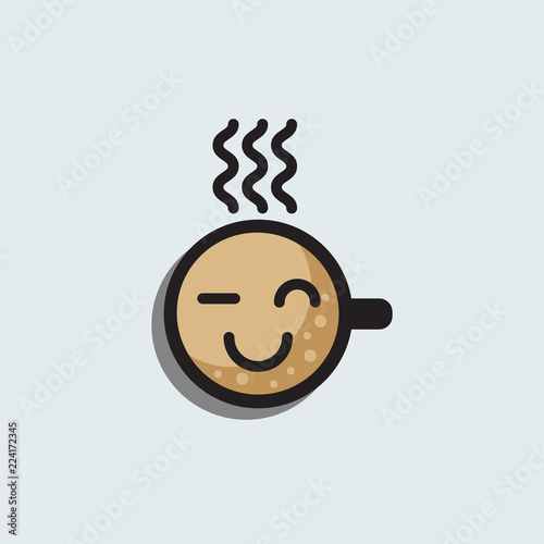 Coffee in cup with smiling face