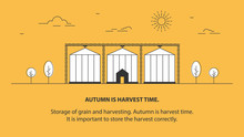 The Grain Elevator. Crop Storage. Farm. Agriculture. Vector Linear Illustration