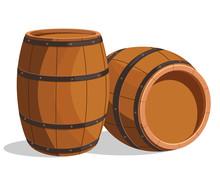 Wooden Barrel Cartoon