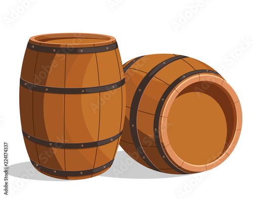Photo Wooden barrel cartoon