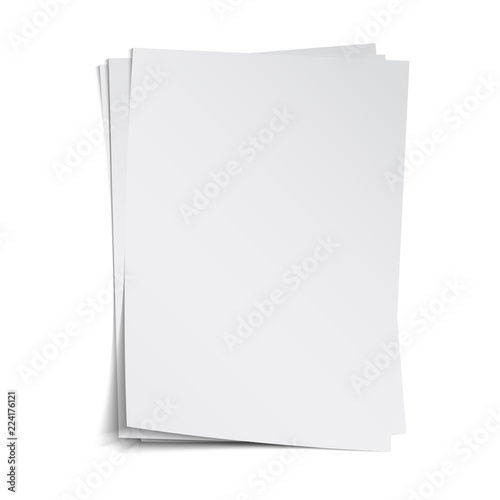 Carta da parati Stack of blank sheets with shadow, vector template, isolated on white