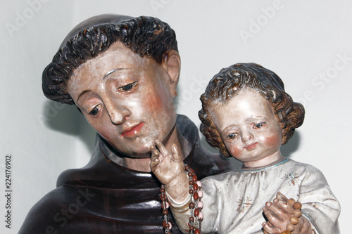 Statue of St Anthony holding child Jesus Canvas Print