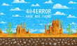404 error page. not found. Landscape background, pixel art, 8-bit game digital vintage style for web site. clouds over the mountains. internet connection problem concept.
