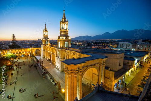 The Basilica Cathedral of Arequipa on sunset Lerretsbilde