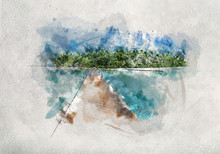Watercolor Painting Of Wooden Jetty In Maldives