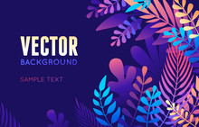 Vector Illustration In Trendy Flat Style And Bright Vibrant Gradient Colors - Background With Copy Space For Text