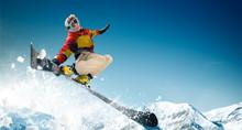 Skiing. Jumping Skier. Extreme...