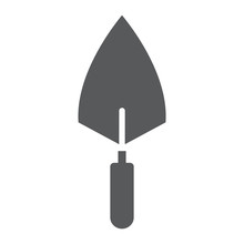 Trowel Glyph Icon, Tool And Repair, Bricklayer Sign, Vector Graphics, A Solid Pattern On A White Background.