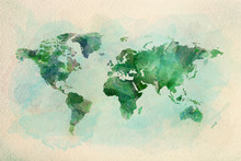 Watercolor Vintage World Map I...