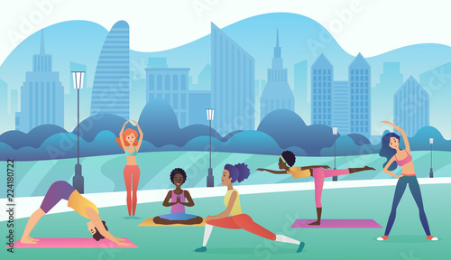 Foto op Plexiglas Pool Group of women doing yoga in the park with modern city background. Trendy gradient color vector illustration.