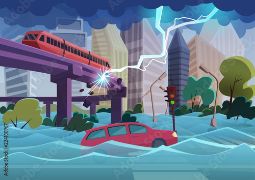 Cuadros en Lienzo Flood and storm natural disaster in modern city