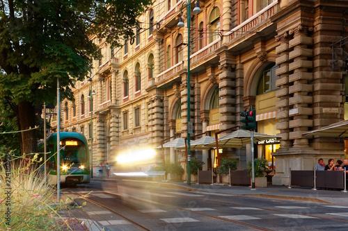 Papiers peints Milan Milan, Italy August 20, 2018: night illumination on the city street.