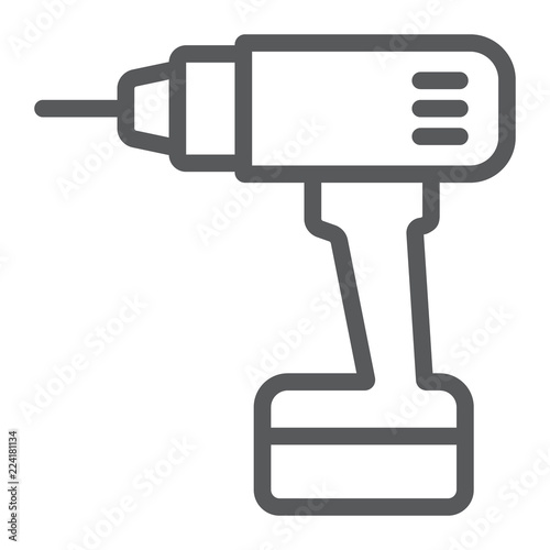 Foto Electric drill line icon, tool and repair, screwdriver sign, vector graphics, a linear pattern on a white background