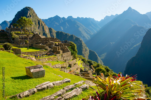 Photo Stands South America Country Sunrise on Machu Picchu, the lost city of inca