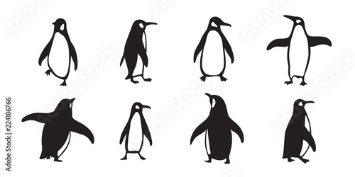 penguin vector icon logo cartoon character fish salmon illustration doodle Fototapet