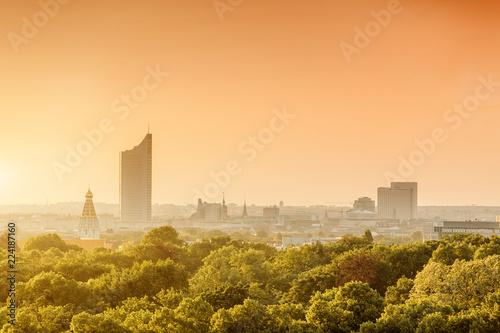 Stampa su Tela  Cityscape view of Leipzig city, Saxony, Germany