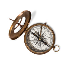 Vitage Brass Compass With Sun-...