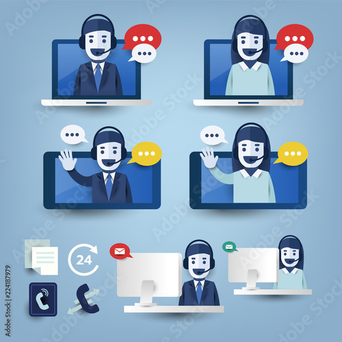Set of customer service support, call center support and feedback with icon on computer laptop, smartphone  platform. Flat vector illustration