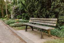 Empty Old Wooden Bench In Ceme...