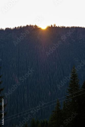 Foto op Aluminium Nachtblauw morning light rising in the mountains Tatra in Slovakia