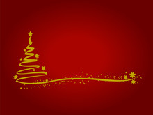 Merry Christmas Red Background With Gold Christmas Tree Star.