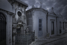 Old European Cemetery At Dusk