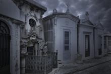Old European Cemetery At Dusk
