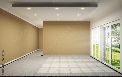 . empty room interior design has brown wall on tile design 3D