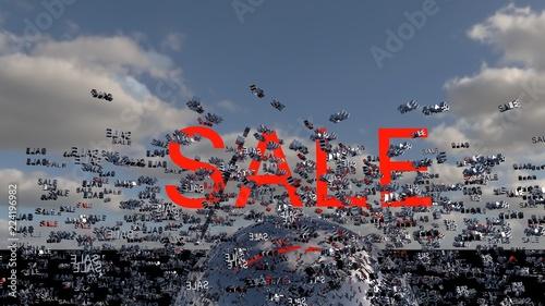 Sale concept.  Word Sale on digital background cloud and sky. 3d render © kwarkot