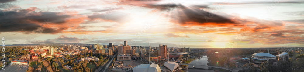 Fototapety, obrazy: Stunning aerial panoramic view of Adelaide skyline at sunset, South Australia