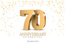 Anniversary 70. Gold 3d Numbers.