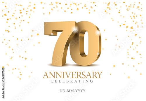 Obraz na plátně  Anniversary 70. gold 3d numbers.
