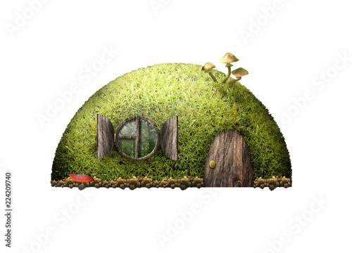Fotografie, Obraz  Сказочный лесной домик на белом фоне.