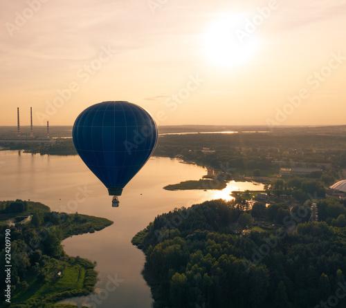 Hot Air Balloon Above Lake, Aerial View