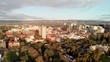 ADELAIDE, AUSTRALIA - SEPTEMBER 16, 2018: Aerial panoramic view of Adelaide skyline at sunset. This is the main city of South Australia