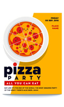 Vector Illustration Of Pizza. Pizza Party Flyer Invitation Template Design. Cute Pizza Character