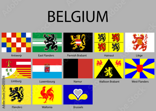 Fotografía  all Flags of regions Belgium