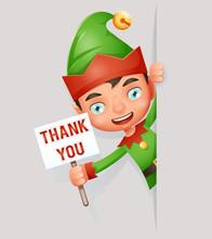 Thank You Poster Look Out Corner Boy Cute Elf Christmas Santa Claus Helper Cartoon Character Vector Illustration