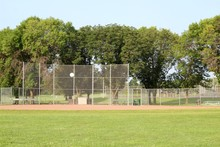 A View Of The Ball Field From The Outfield Grass.
