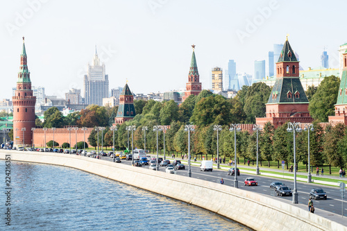 cars on Kremlin Embankment in Moscow city
