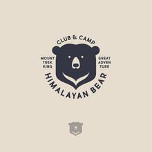 Himalayan Bear Logo. Mountain Travel Emblem. Active Leisure Club And Camp. Flat Emblem On A Light Background.
